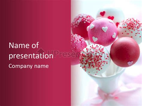 valentine heart cake pop powerpoint template id 0000074278