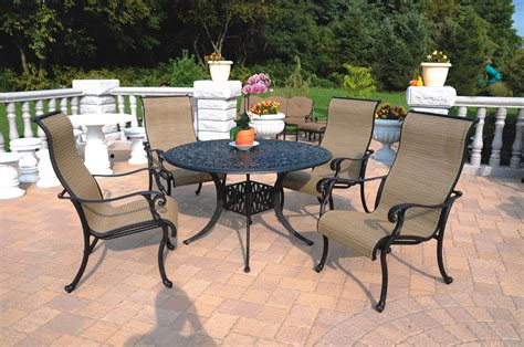 Patio Furniture Cast Aluminum Sling Dining Set 48 Quot Table Sling Patio Furniture Sets