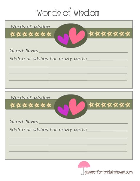 free printable bridal shower game cards free printable bridal shower words of wisdom cards