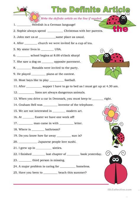 grammar exercise the definite and indefinite articles the definite article exercises worksheet free esl