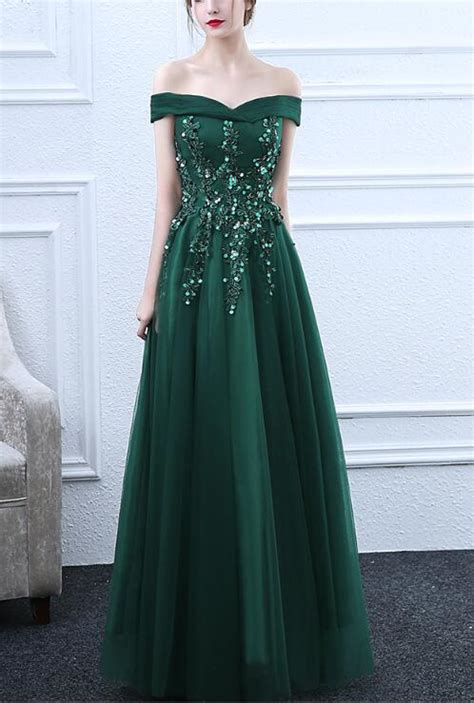 green  shoulder long tulle prom dress  formal