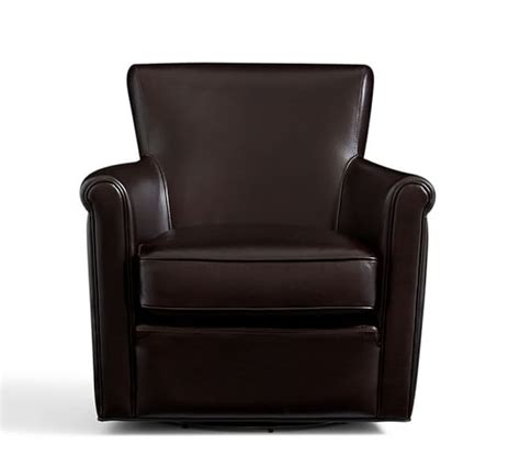 irving leather armchair irving leather swivel armchair pottery barn