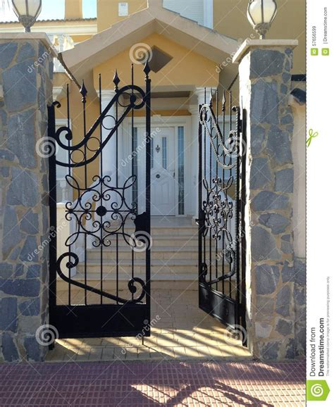 Wrought Iron Gate Stock Image Image Of Door Iron Partly House Metal Front Door Gates
