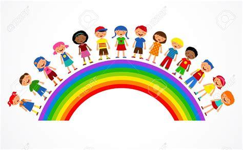 Clipart Arcobaleno - arcobaleno con i bambini illustrazione colorata irc