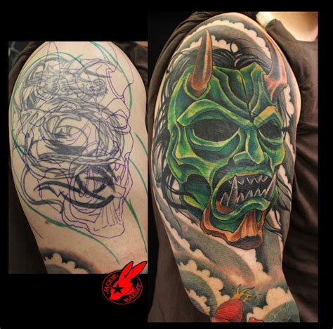 oni tattoo oni mask cover up by jackie rabbit by
