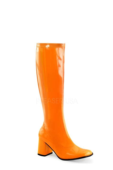 neon orange chunky heel gogo boots patent faux leather