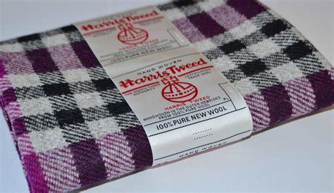Sewn Patchwork - harris tweed fabric labels 100 wool tartan herringbone