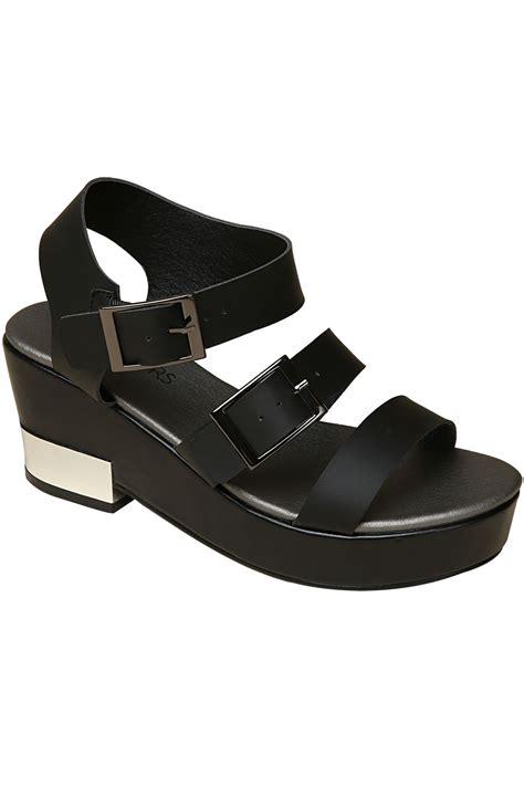 silver platform sandals black three platform sandals with silver trim in eee