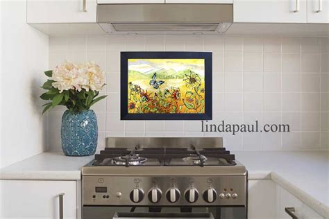 temporary backsplash for rental in stock tile murals and mosaic and metal accent and