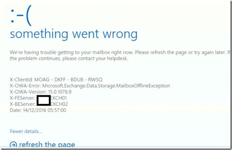 Office 365 Outlook Login Problem Http 500 Error In Owa And Ecp Something Went Wrong