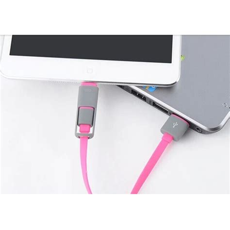 2 in 1 duo magic cable lightning and micro usb cable for android ios split back model
