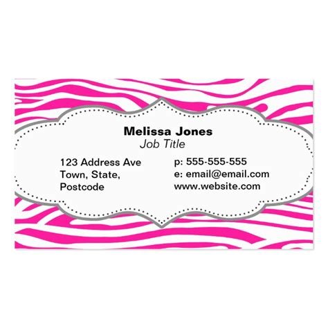 Hot Pink Zebra Stripe Pattern Animal Print Business Card Templates Pink Zebra Business Card Template Free