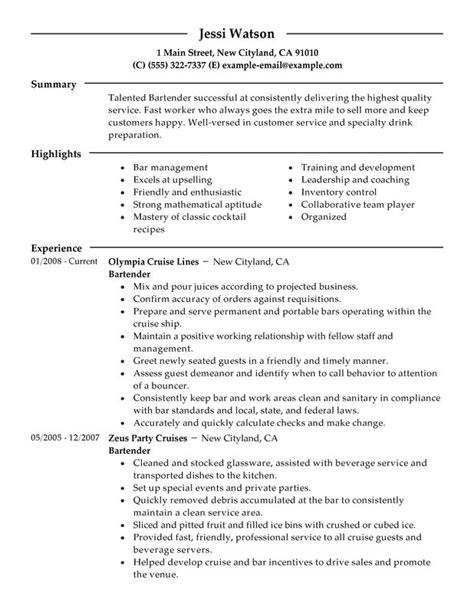 resume format for bartender bartender resume exles free to try today