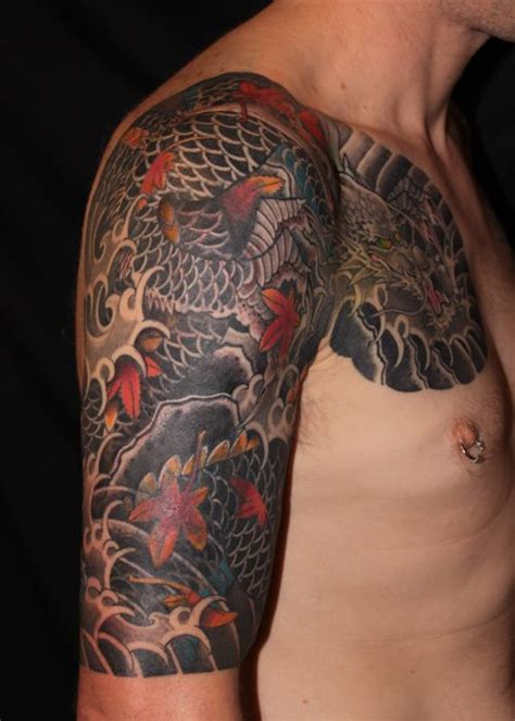 dragon tattoo cover up designs dragon tattoo sleeve with maple leaves cover up freehand