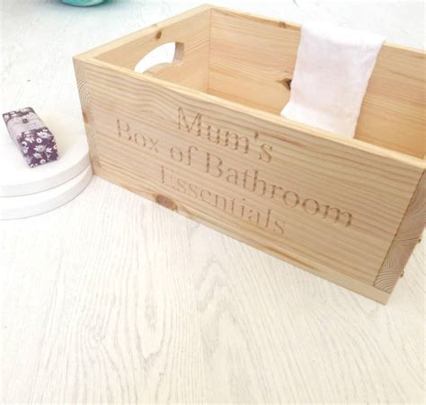 wooden bathroom storage box personalised wooden bathroom storage crate by edgeinspired