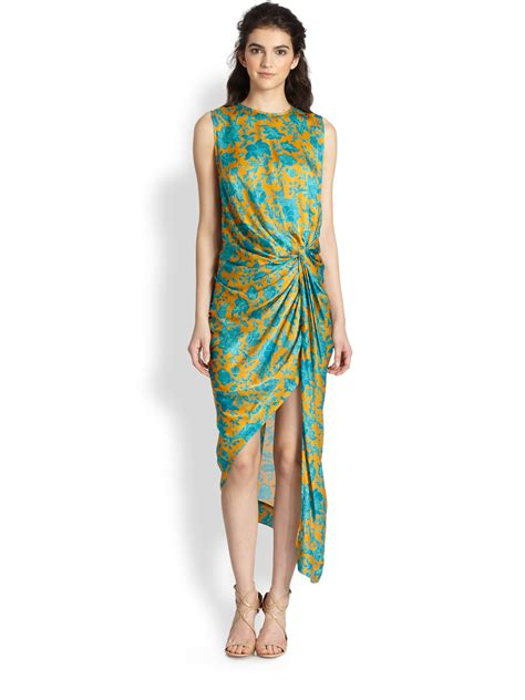 zimmermann asymmetric drape dress zimmermann silk asymmetric draped dress in green floral