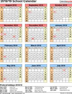 Calendar 2018 Pdf Free School Calendars 2018 2019 As Free Printable Pdf Templates