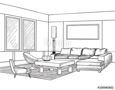 Living Room Interior Sketch Table by Quot Interior Outline Sketch Furniture Blueprint Living Room