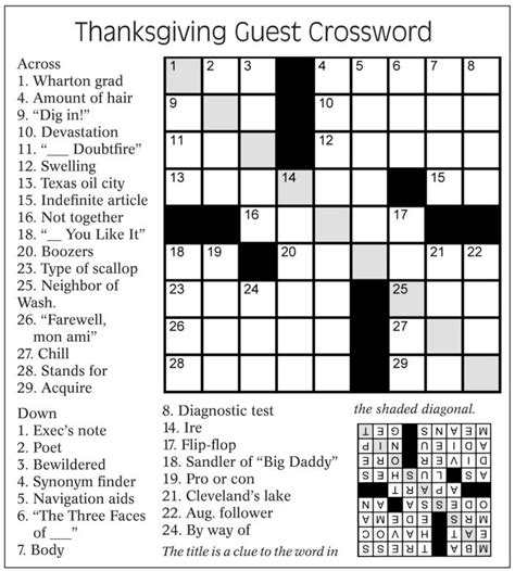printable puzzles thanksgiving thanksgiving guest crossword puzzle