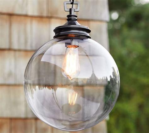 Pottery Barn Outdoor Lights Calhoun Glass Indoor Outdoor Pendant Pottery Barn