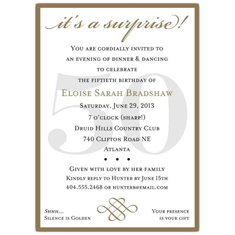 classic 50th birthday gold surprise party invitations