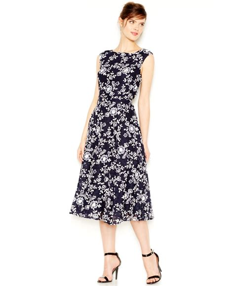 Dress And Fell Navy Floral Lace betsey johnson lace embroided midi dress in blue lyst