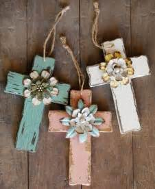 Handmade Wood Crafts - diy wooden crosses gift with handmade flowers