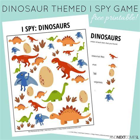 printable dinosaur games dinosaur themed i spy game free printable for kids and