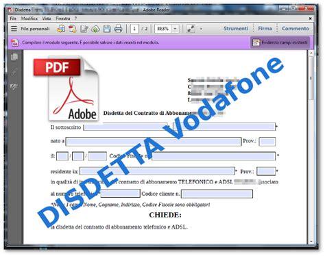 disdetta vodafone casa disdetta vodafone modulo pdf compilabile come