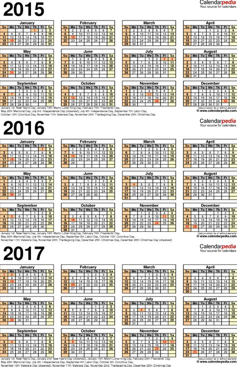 2015 To 2017 Calendar 2015 2016 2017 Calendar 4 Three Year Printable Excel