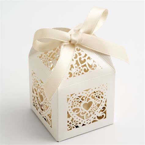 Ivory Filigree Heart Favour Boxes at Favour This