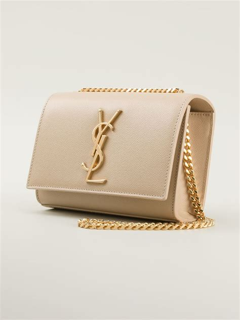 lyst saint laurent monogram crossbody bag  natural