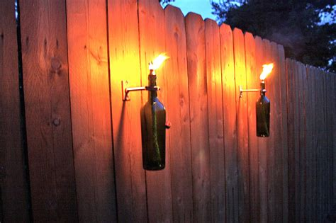 3 Green Wine Bottle Tiki Torches Outdoor Christmas Lighting Outdoor Tiki Lights
