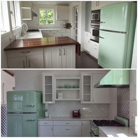 Green Kitchen Appliances by Sparkling White Kitchens With Big Chill Appliances