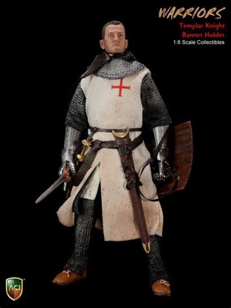 figure knights crusader templar banner holder aci 1 6 figure