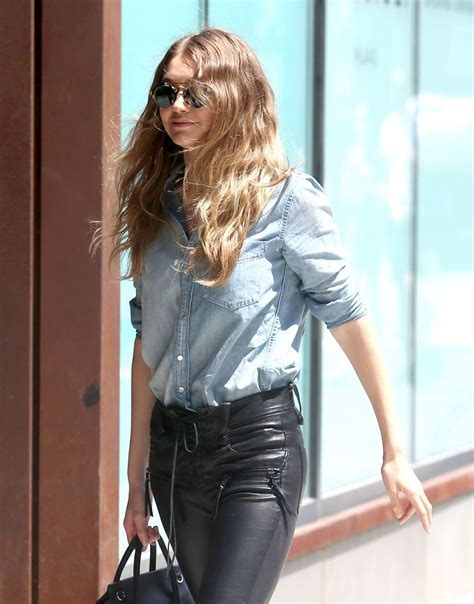 gigi hadid leather gigi hadid in leather pants out in new york city 6 17 2016