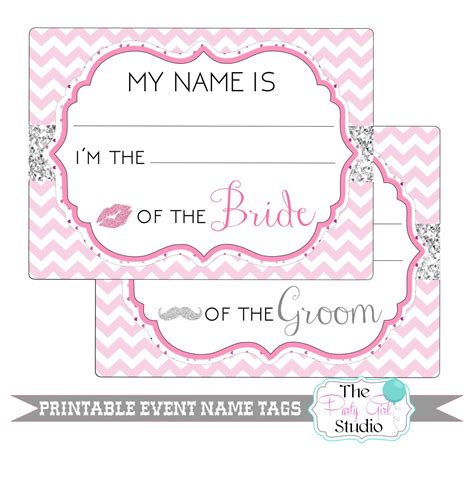 printable bridal shower tags printable name tags event wedding engagement party