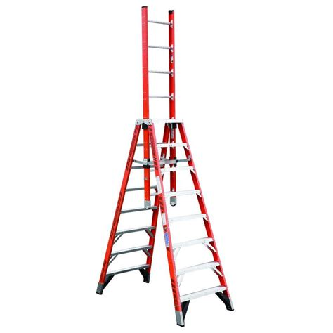 400 Lb Capacity Ladder by Werner 8 Ft Fiberglass Extension Trestle Step Ladder With