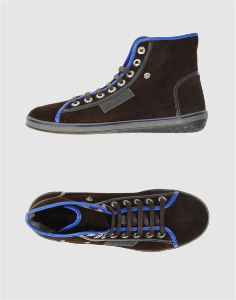 moschino sneakers mens moschino high top sneakers in blue for lyst