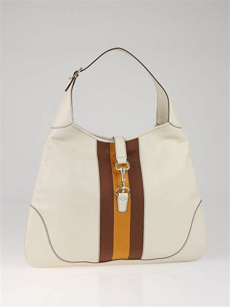 Gucci Large Bouvier Bag by Gucci White Leather Jackie O Bouvier Large Hobo Bag