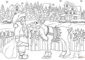 vintage santa coloring page vintage santa claus with his christmas deer coloring page