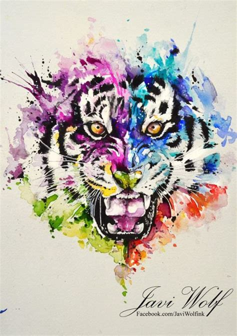 watercolor tattoo tiger aquarelle tigre par javi loup tatoos