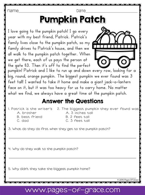 theme question exles reading comprehension passages and questions for october