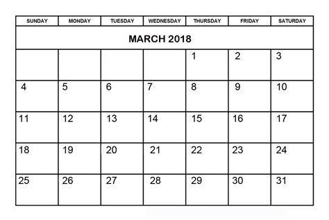 free march calendar template march 2018 printable calendar printable calendar templates