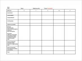 weekly planning template for teachers lesson plan template 9 free sle exle