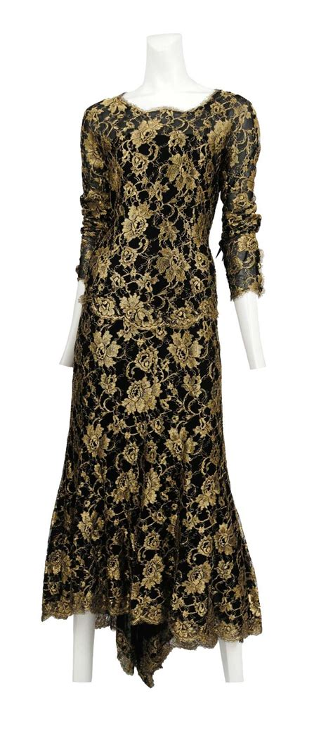 Dress Chanell 4 chanel gold and black lace gown at 1stdibs