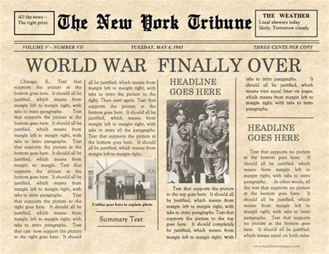 Vintage Front Page Newspaper Template Instant Download For Vintage Newspaper Template