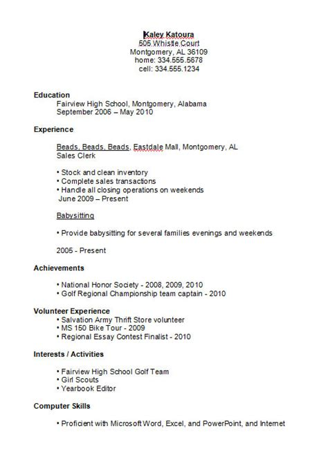 Student Resume Summary High School Resume Exle With Summary Recentresumes