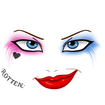 cute cat makeup faces roblox id my site dinopic info roblox custom face harley quinn by angi shy on deviantart