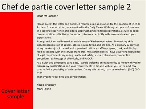 cover letter chef de rang sle cv for chef de partie resume for chef de partie exle